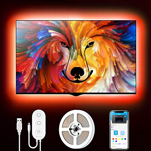 Tiras LED TV, Govee Tira LED USB 2M con APP, 16 Millones DIY Colores 5050 SMD, Retroiluminacion Luces LED TV RGB con 7 Modo Escenas para 40-55in HDTV/PC Monitor 4pcs x 50cm, 5V